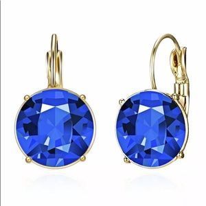 GOLD PLATED BLUE SAPPHIRE EARRINGS